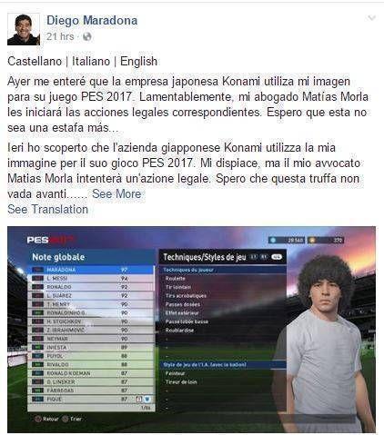 Captura de pantalla del perfil oficial en Facebook de Maradona.