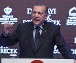 El presidente turco, Recep Tayyip Erdogan, durante su discurso en Estambul este domingo. Foto: Ozan Kose/ AFP.