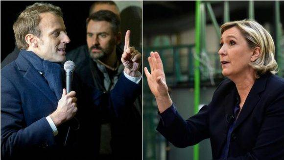 Emmanuel Macron y Marine Le Pen. Foto tomada de diasporabrazil.com.