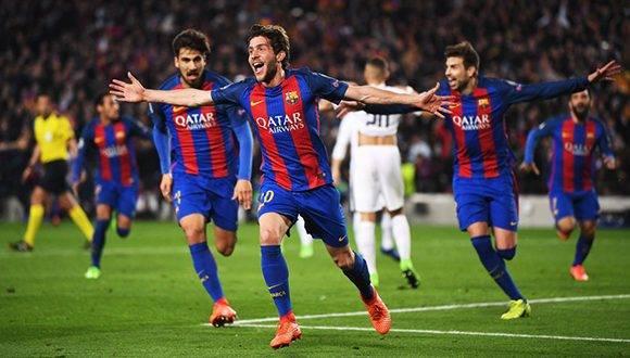 Sergi Roberto marca el gol del milagro, en el último minuto el FC Barcelona ganó 6-1 al PSG y remontaron el 4-0 de la ida. Foto: Laurence Griffiths/ Getty.