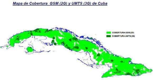 Mapa de Cobertura GSM (2G) y UMTS (3G) de Cuba