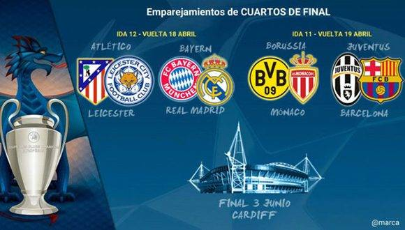 Bayern real madrid y juventus barcelona animar n cuartos for Cuartos de final champions