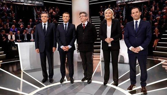 Candidatos a la presidencia francesa durante el debate. Foto: Pool New / Reuters.