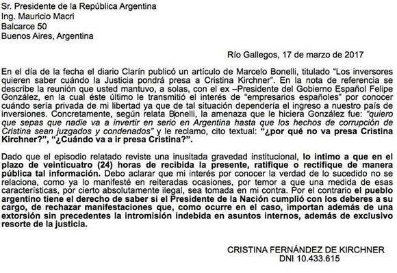Texto de las cartas documento enviadas a Macri y al ex Presidente español Felipe González con motivo de la nota publicada hoy en Clarín. Vía @CFKArgentina