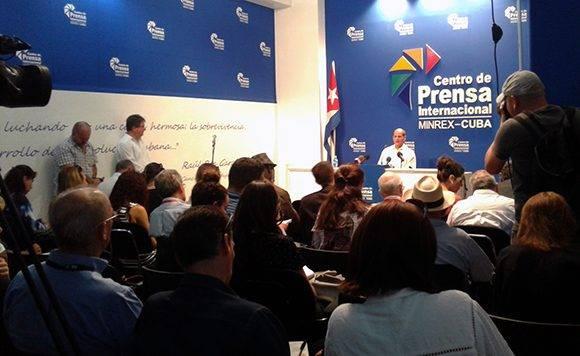La conferencia de prensa se realizó en el Centro de Prensa Internacional, en La Habana. Foto: Cubadebate.