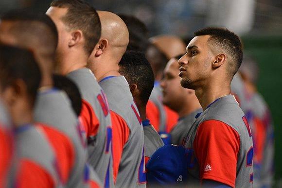 Se escucha el himno nacional de Cuba en el Tokyo Dome. Foto: Ricardo López Hevia/ Granma/ Cubadebate.