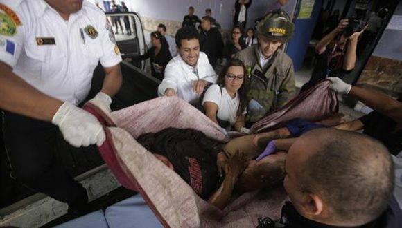 Heridos del albergue Hogar Seguro Virgen de la Asunción. Foto: AFP.
