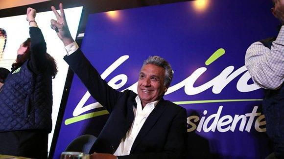 Lenín Moreno ganó la consulta presidencial con el 39,33% de los votos, o sea, 11 puntos por delante del segundo, Guillermo Lasso, que obtuvo el 28,19%. Foto: Reuters.
