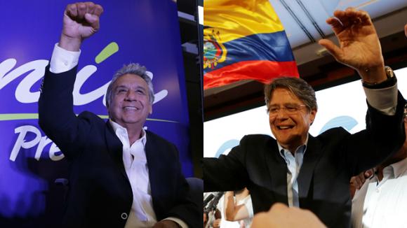 Lenín Moreno (izq), candidato de Alianza PAIS, desea continuar con la Revolución Ciudadana, mientras que Guillermo Lasso (der) quiere reimplantar el neoliberalismo. Foto: Reuters/ AP.