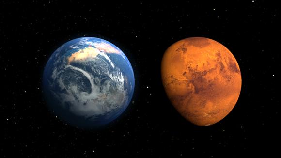 Marte en el pasado y ahora, según una ilustración de la NASA. El planeta rojo tuvo en el pasado una atmósfera y océanos. Foto: NASA.