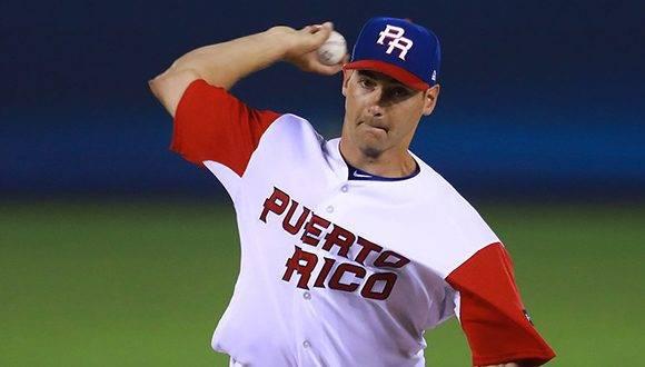 Seth Lugo, el abridor de Puerto Rico, lanzó estelar durante 5.1 innings. Foto: @WBCBaseball.
