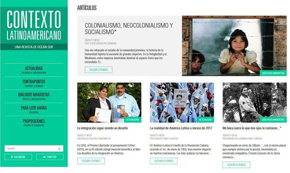 Así lucirá la revista Contexto latinoamericano en su versión online. Foto: Cortesía de la revista.