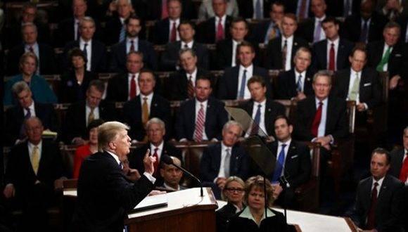 A diferencia de su habitual tono apocalíptico, Trump hizo un discurso pleno de pinceladas de optimismo. Foto: Getty Images.