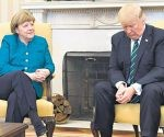 Merkel y Trump hablaron en el Salón Oval, pero en esa ocasión no se dieron la mano para la foto.  Foto: Página 12.