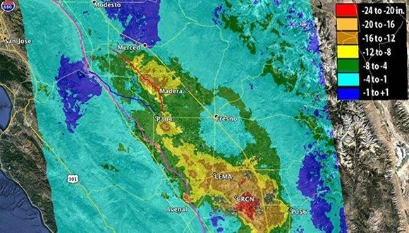 Las tasas de subsidencia del Valle de San Joaquín documentadas desde el año 2014 por la NASA son preocupantes. Foto: NASA.