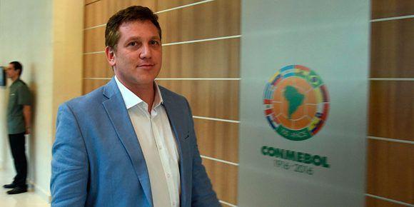 Alejandro Domínguez, actual presidente de la Confederación Sudamericana de Fútbol (Conmebol). Foto: AFP.