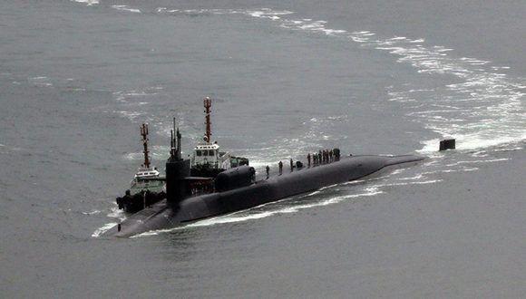 La pnínsula coreana está sumida en tensiones militares. En la imagen, el submarino nuclear estadounidense USS Michigan en el puerto surcoreano de Busan. Foto: Cho Jueong-ho/ Yonhap.