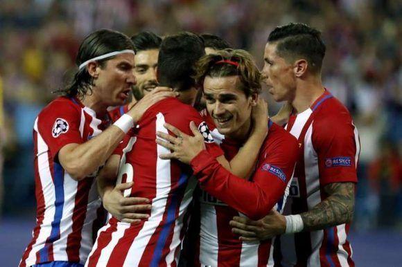 Los jugadores celebran el gol de Griezmann. Foto: EFE.