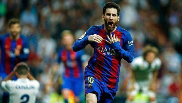 Messi celebra el gol del triunfo ante el Real Madrid. Foto: AFP.