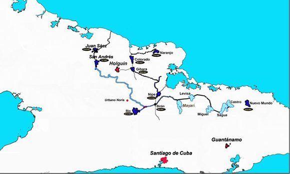 Mapa del Trasvase Este-Oeste, que va desde Moa (Holguín) hasta Las Tunas (presa Juan Sáez). Imagen: ¡Ahora!