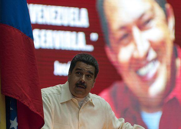 Nicolás Maduro, presidente de Venezuela, comenzó su discurso diciendo que la relación entre Cuba y Venezuela es de amor. Foto: Ladyrene Pérez/ Cubadebate.