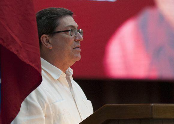 El canciller cubano, bruno Rodríguez Parrilla dio lectura a las declaraciones del Consejo Político del ALBA-TCP. Foto: Ladyrene Pérez/ Cubadebate.