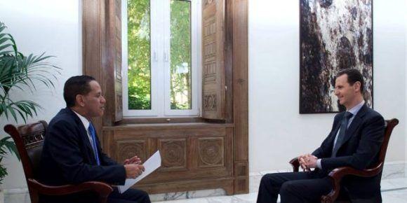 El presidente de Siria, Bashar Al-Assad, en entrevista con el canal Telesur. Foto: SANA.