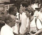 Recibimiento de la V Caravana de Pastores por la Paz, en 1996, con la presencia del líder de la Revolución, Fidel Castro. Foto: Cortesía CMLK.