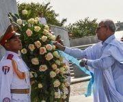 Brahim Ghali, presidente de la República Árabe Saharaui Democrática (RASD), depositó una ofrenda floral a José Martí,  en el Memorial que lleva el nombre del Héroe Nacional de Cuba, en la Plaza de la Revolución, en La Habana,  el 26 de mayo de 2017. Foto: ACN/ Marcelino Vázquez.