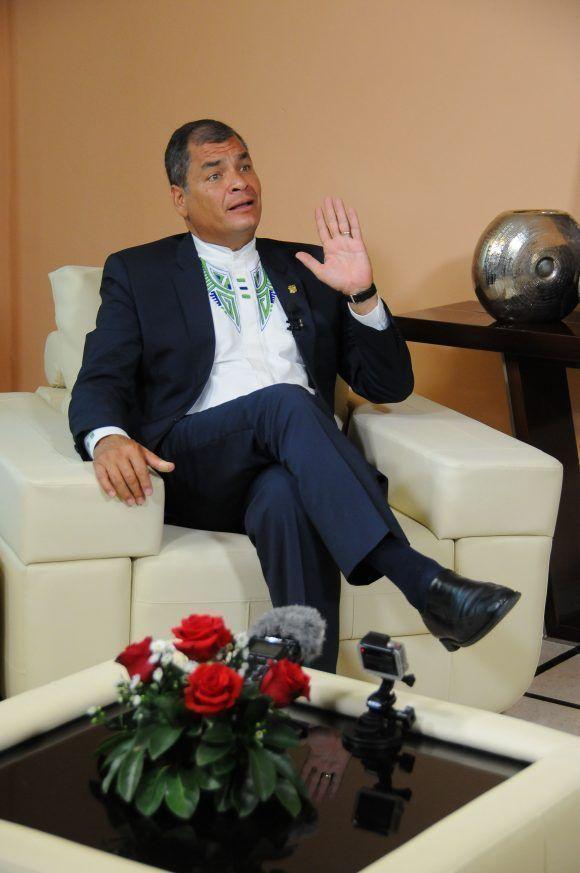 Entrevista al presidente de Ecuador, Rafael Correa Delgado a Mundo Latino, durante su visita a Cuba para recibir la Orden José Martí y el Título de Honoris Causa de la Universidad de La Habana, mayo de 2017. Foto: Juvenal Balán / Mundo Latino / Cubadebate