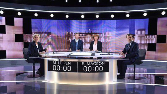 Macron y Le Pen se midieron en un debate presidencial, cuatro días antes de la segunda vuelta de las elecciones. Foto: AP.