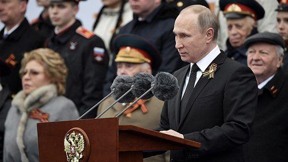 Vladimir Putin durante su discurso en Moscú por el Día de la Victoria. Foto: Aleksey Nikolskyi/ Reuters.