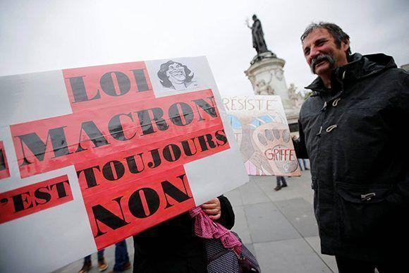 Protestas contra Macron y sus reformas laborales. Foto: Reuters.