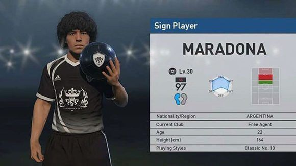 Imagen de Maradona en el Pro Evolution Soccer, videojuego de la empresa Konami.