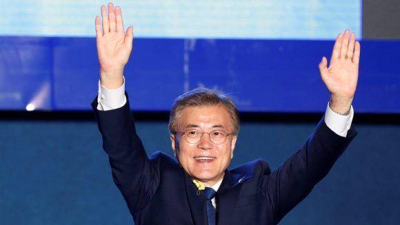 Moon Jae-in celebra su victoria en las elecciones de Corea del Sur. Foto: Reuters.