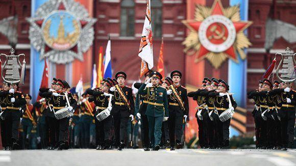 La orquesta del ejército ruso durante la celebración por el 72 aniversario del triunfo sobre el nazismo. Foto: Alexandr Vilf/ Sputnik.