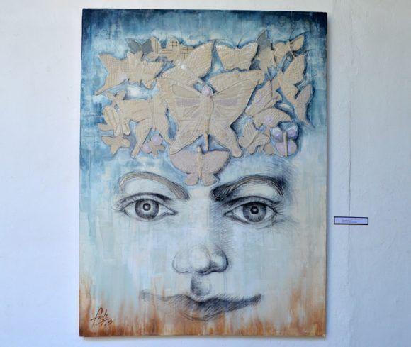 """Adolescentia"" Mixta/ Lienzo 165x 126 cm. Autor. Yudit Vidal. Lencería: Lucía Giménez. Foto. Marianela Dufflar / Cubadebate"
