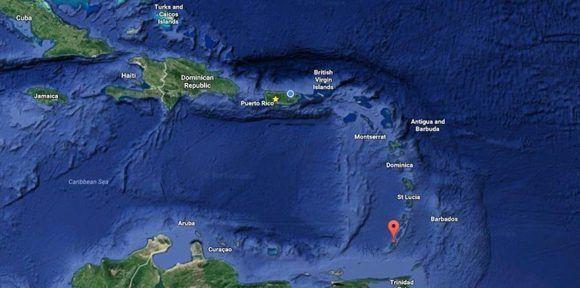 La alerta amarilla sigue aún en vigor para las embarcaciones en la zona y se ha impedido que se acerquen a tres millas a la redonda del lugar donde se encuentra. Imagen: Google Maps.