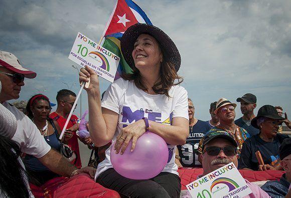 Mariela Castro Espín, Directora del Cenesex durante la conga cubana contra la homofobia y la transfobia. Foto: Irene Pérez/ Cubadebate.