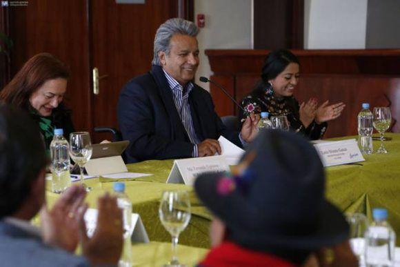 epresentantes de organizaciones indígenas asistieron ayer a un encuentro con Lenín Moreno, quien les ofreció mantener un diálogo permanente. Foto: El Universo.