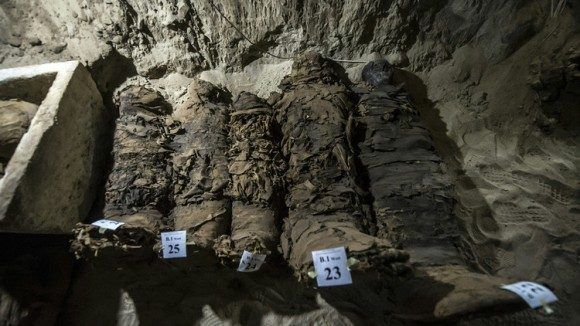 El hallazgo sería la primera necrópolis encontrada en el centro de Egipto con tantas momias. Foto: AFP.