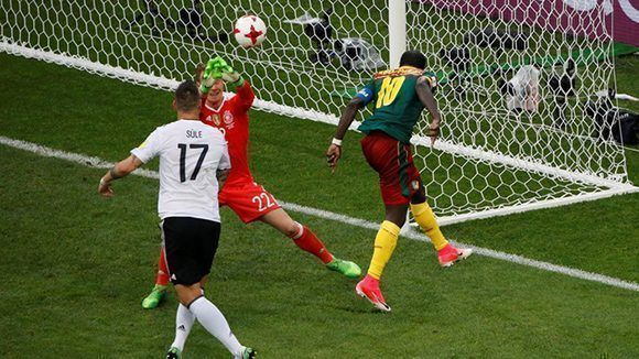 Soccer Football - Germany v Cameroon - FIFA Confederations Cup Russia 2017 - Group B - Fisht Stadium, Sochi, Russia - June 25, 2017   Cameroon's Vincent Aboubakar scores their first goal past Germany's Marc-Andre ter Stegen    REUTERS/Grigory Dukor