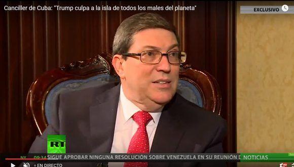 Bruno Rodríguez Parrilla en entrevista con la cadena Russia Today.