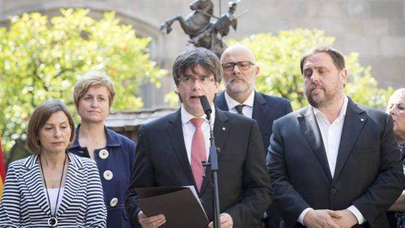 Carles Puigdemont durante el anuncio del referéndum por la independencia catalana. Foto: Carles Ribas/ Quality.