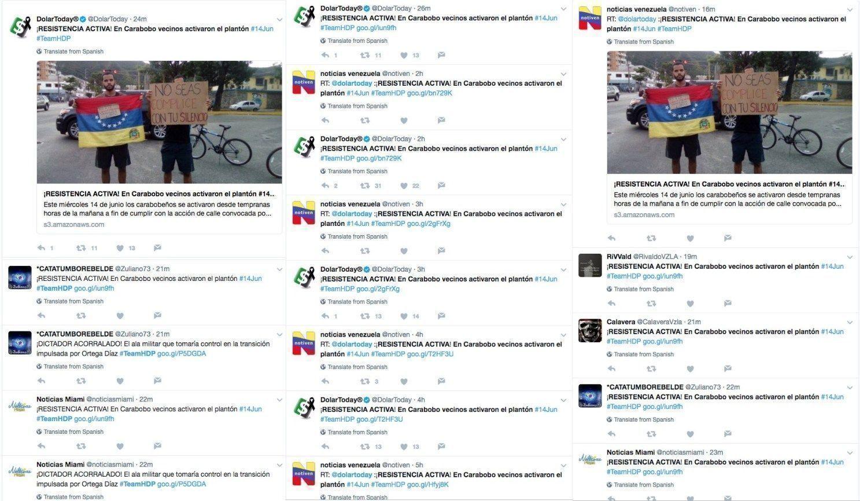 Ejemplo de #TEAMHDP tweets repetidos desde el 15 de junio de 2017.