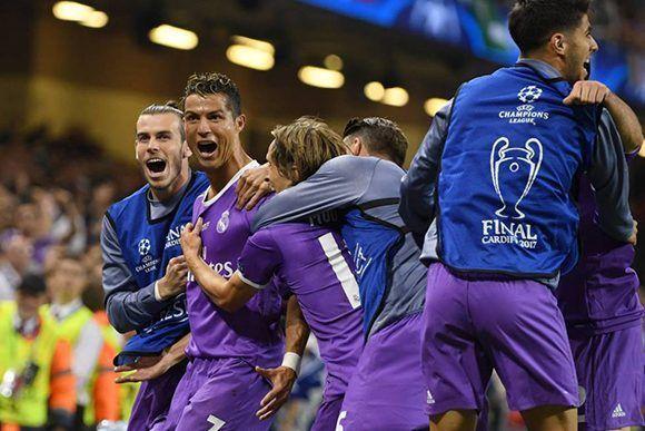 Cristiano Ronaldo celebra su doblete en la final de Champions. Foto: Getty.