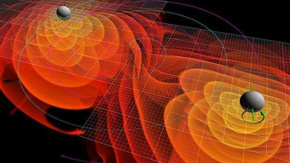 Simulaciones numéricas de las ondas gravitatorias emitidas por la fusión de dos agujeros negros. Imagen: NASA.