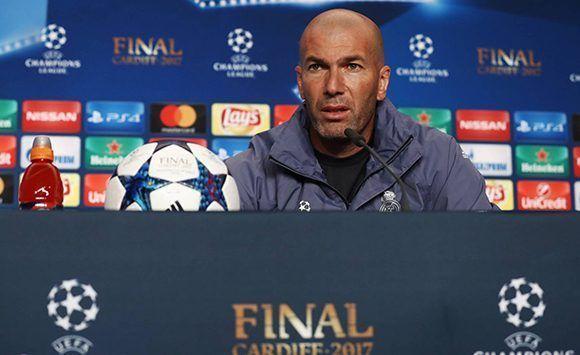 Zidane, durante la rueda de prensa previa a la final de la Champions contra la Juventus. Foto: UEFA.