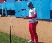 Alfredo Fadraga Pérez, del equipo de casa, leyó el juramento de los atletas. Foto: Katheryn Felipe/Cubadebate.