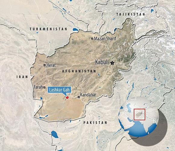 Localización del ataque suicida a un banco afgano. Foto: Daily Mail.